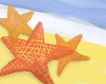 Starfish Notecards (set of 6 folded cards with envelopes in a clear box)