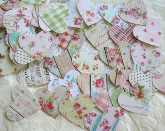 """Handmade Confetti, country chic Hearts LARGE 2"""""""