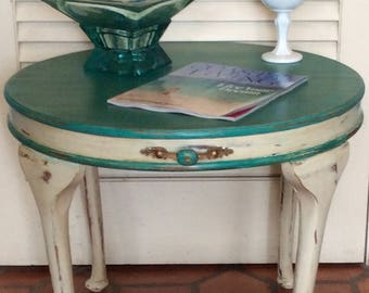 Small Round Coffee Table/End Table Turquoise