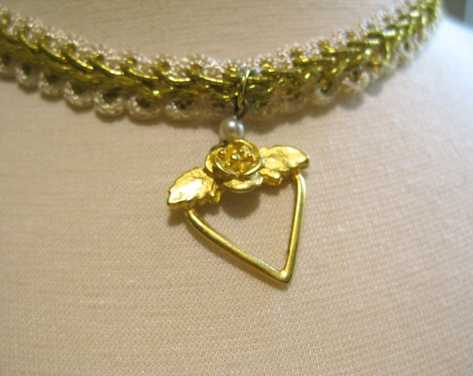 Vintage Gold Heart and Rose, Crocheted White, Gold Beaded Ribbon Choker Necklace, Victorian, Country Chic Style