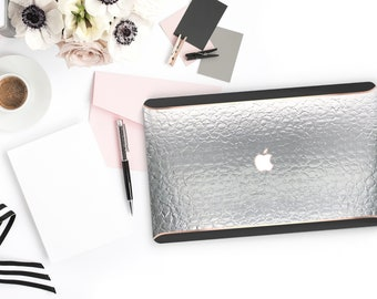 Macbook Pro 13 Case Macbook Air Case Laptop Case Macbook Case . Elegant Silver Alligator . Rose Gold Chrome Black Velvet Edge - Platinum