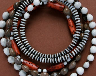 long beaded necklace with natural seeds and nut beads - bohemian jewelry - ethnic style