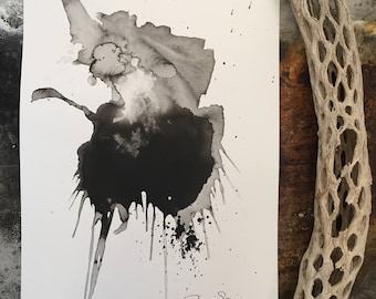 Black and White Abstract Original Ink Painting by Julie Steiner