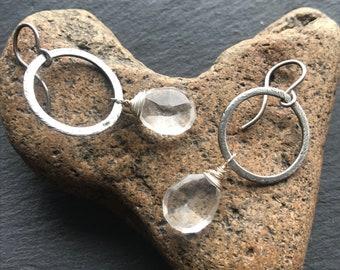 Antiqued Sterling silver and Crystal Quartz Dangles, Boho