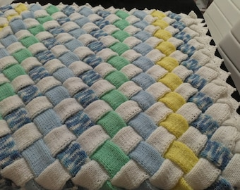 Hand Knitted Entrelac Baby Blanket/Shawl/Christening Rug