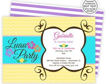 Hawaiian Invitations | Hawaiian Party | Hawaiian Birthday Invitations | Tiki Invitations | Tropical Invitations | Luau Invitation | 460