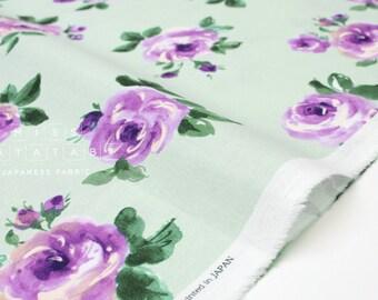 Japanese Fabric Bold Roses - mint, purple - 50cm