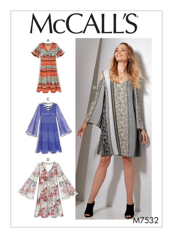 Sewing Pattern for Misses\' V-Neck, Flared-Sleeve Dresses, McCall\'s ...