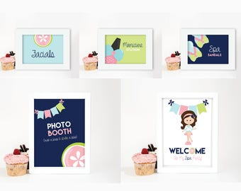 Spa Glam Day - Girl Birthday Party - Printable Signs and Tent Card Set