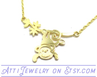 Adorable Monkey Hanging from a Tree Shaped Charm Necklace in Gold | Handmade Animal Jewelry