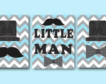 Little Man Wall Art Baby Boy Nursery Decor Boy Children Art Print Baby Nursery Print Nursery Print Boy Baby Boy Art  set of 3 Blue Gray