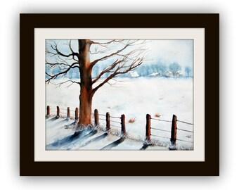 Watercolour - Original - Winter - Size 28x38