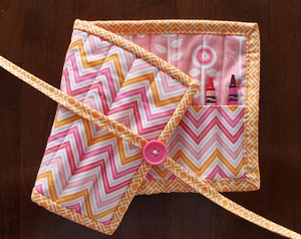 Pink Chevron Crayon Roll Up, Orange Chevron Crayon Holder, Pink Orange Crayon Tote, Girl Crayon Holder, Pink Crayon Tote, Art Supplies