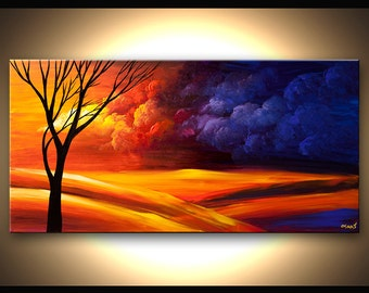 Contemporary Tree Acrylic Painting Colorful Landscape Painting Blue, Purple, Reds by Osnat - MADE-TO-ORDER artwork