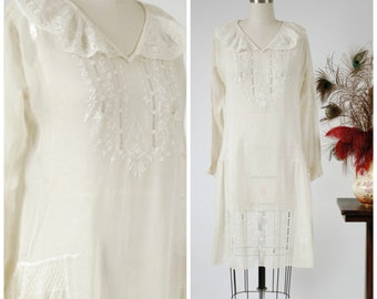 Vintage 1920s Dress - Rare Earlu Peasant Style Dress in Sheer White Cotton Batiste with White Embroidery and Smocking