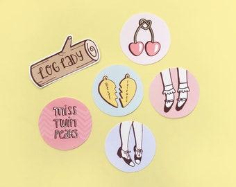 Twin Peaks stickers | Set of 6 pastel Miss Twin Peaks inspired matte vinyl sticker set | Audrey Horne, Log Lady, Laura Palmer, Cherry