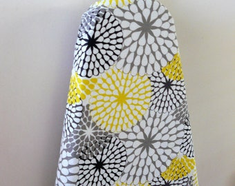 Ironing Board Cover - sunbursts in bright lemon yellow grey black and white