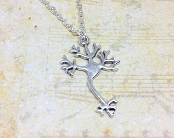 Neuron Charm Necklace, Science Jewelry, Brain Cell Charm, Nerve Cell Charm, Biology Necklace, Charm Necklace, Neurotransmitter, Doctors Gift