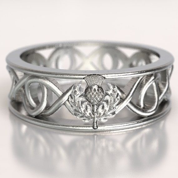 Celtic Scottish Thistle Ring Infinity Ring Scottish Thistle