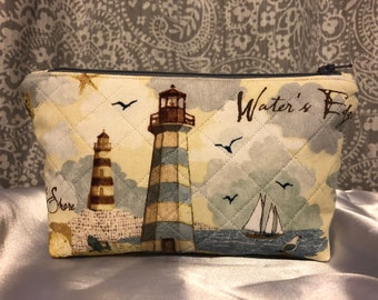 Quilted Lighthouse Small Zippered Pouch