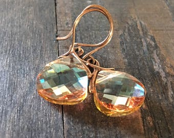 Peach Searovski Crystal Earrings with Copper accent and Bronze Earwires