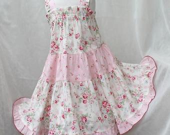 Rose Pink Girls Dress Tiered Girl Twirl Dress Floral Sundress Spring Summer Girl Clothes Cotton Polka Dot 2t 3t 4t 5 6 Big Girl Size 7 8 10