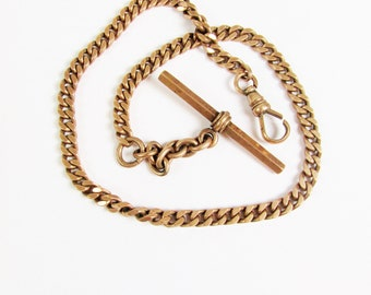 Vintage 14k Gold Pocket Watch Chain with T-Bar and Swivel Clasp