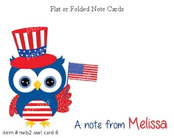 Patriotic USA Owl Note Cards Set of 10 personalized flat or folded cards