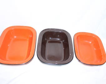 trio of enamel dishes