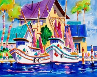 Tarpon Springs Florida Fishing Boat Print, Tropical Art, Watercolor Print 5 x 7, 8 x 10, 11 x 14 Boat Painting, Beach Art, Tropical Painting