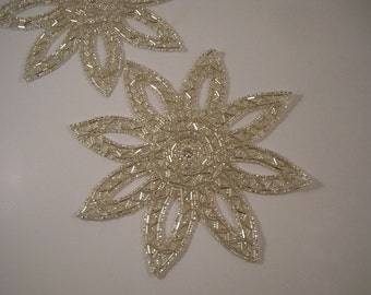 Large Silver Starburst Beaded Applique with Stone--One Piece
