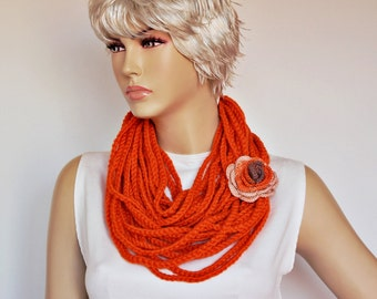 CLEARANCE SALE-Orange  crochet lariat scarf, infinity chain scarf,  lariat  scarf, with  REMOVABLE  flower  brooch.