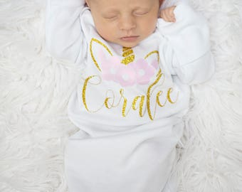 Newborn girl coming home outfit name gown - baby shower gift, newborn girl coming home outfit girl unicorn gown - headband sold seperate