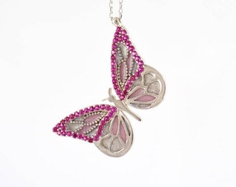 Memorial Day SALE Butterfly Necklace by Trianda - Elsa Collection - 925 Sterling Silver Simulated Rubies and Handmade Enamel