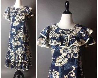 Vintage Hawaiian dress / Hawaiian dress / novelty print dress / party dress / floral dress / tiki dress / party dress / 8515