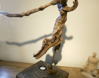 "Driftwood lamp sculpture ""the girl was looking at the stars''"
