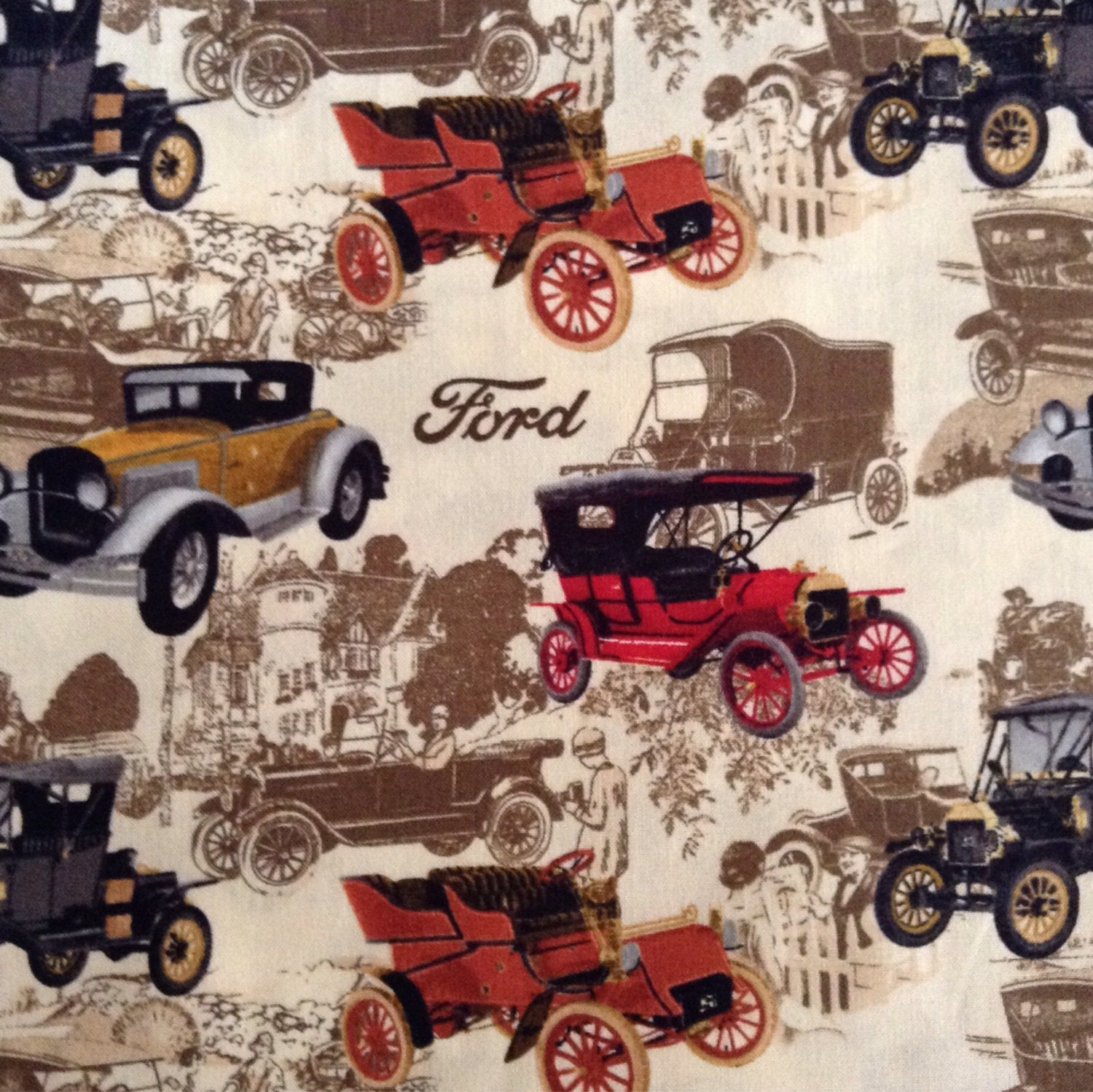 One Half Yard of Fabric Material - Ford Vintage Cars from ...