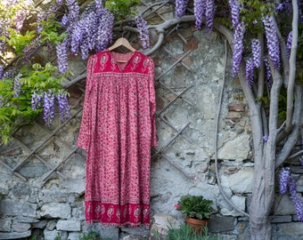 Indian Cotton Dress, Cotton Gauze, Tunic, Gold Stamping, Red, Pink, Beige, Small, Medium, Boho Style, Fully Lined