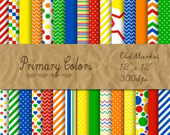Primary Colors Digital Paper -  Colorful Digital Paper Pack -  30 Papers - 12in x 12in - Commercial Use -  INSTANT DOWNLOAD