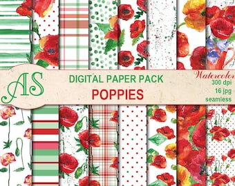 Digital Watercolor Poppies Seamless Paper Pack, 16 printable Scrapbooking papers, Floral Collage, Decoupage, Instant Download, set 123