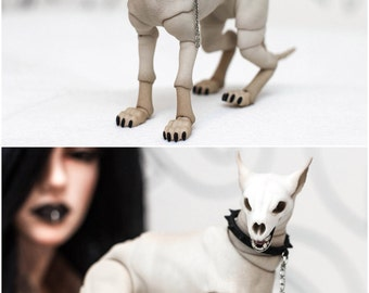 To order. BJD dog 7 or 9 cm. Ball jointed dog has from 1 to 5 heads on magnets. BJD pet BJD dog articulated jointed dog figure bjd hellhound