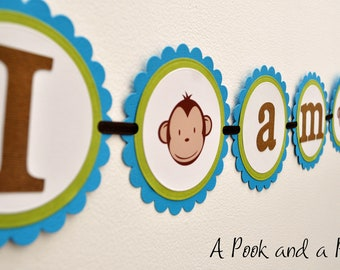 """Blue and Green """"I am one"""" Boy Monkey High Chair Banner - First 1st Birthday"""
