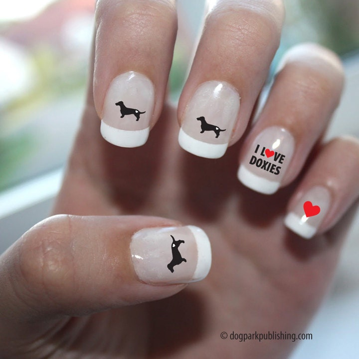 Dachshund Love Nail Art - Dachshund Nail Art, Dachshund Nail Decals ...