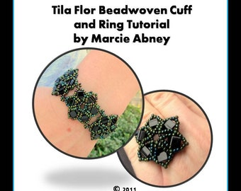 Beadweaving Tutorial Bracelet - Tila Flor Beadwoven Bracelet and Ring Instant Download