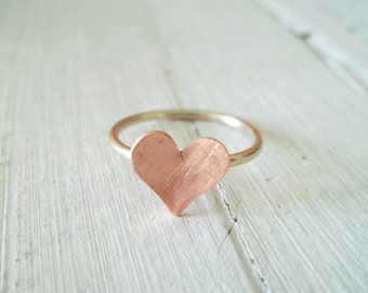 Handmade copper heart ring.