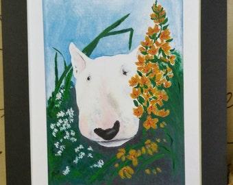 Bull Terrier--Peek a Bully Print