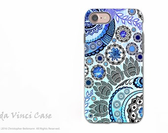 Blue Paisley iPhone 7 / 8 Tough Case - Floral Art iPhone 7 Cover - Dual Layer Protection by Da Vinci Case - Blue Mehndi