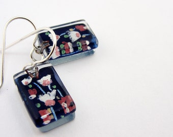 Fused Glass Earrings: Cherry Blossoms Drops *NEW*