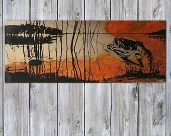 Rustic Artwork - Bass Fishing on Rusted Metal - FREE SHIPPING