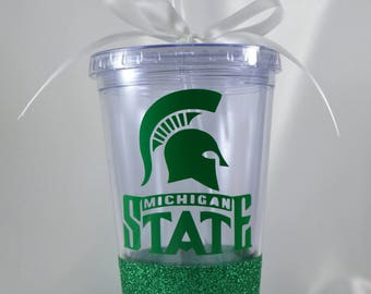 Michigan State University Glitter Dipped Tumbler Tailgate Homecoming Spartan Michigan Go Green Sparty On